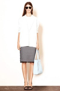 SS14 Trends Perforation Elizabeth and James, donna ida, london fashion, london style, white shirt, blouse, monochrome, check skirt, shoes, bag, sun glasses