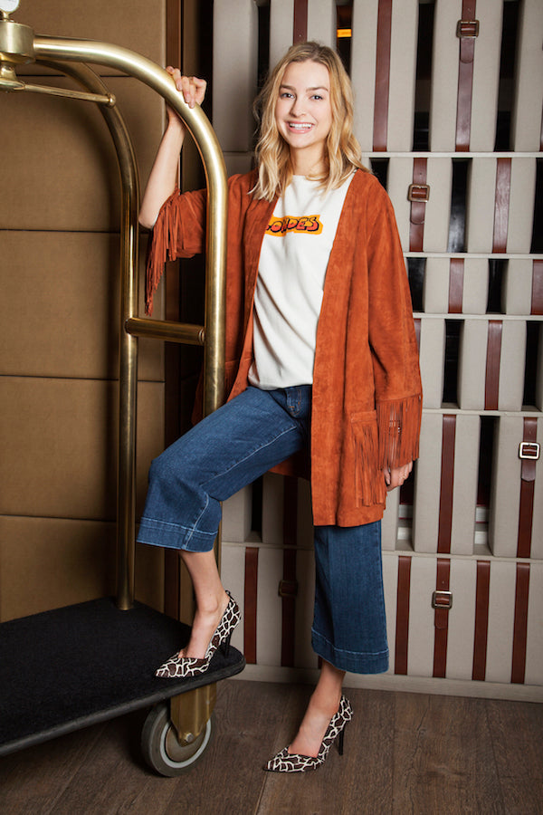 Ella Gregory wears J Brand culottes ENES jacket and Bella Freud jumper