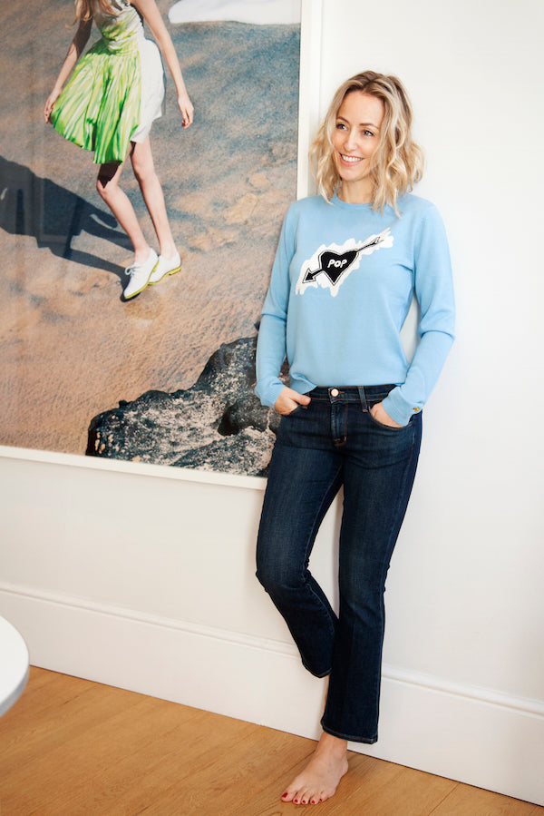Fanny Moizant Vestiaire Collective wears Bella Freud jumper and J Brand jeans DONNA IDA