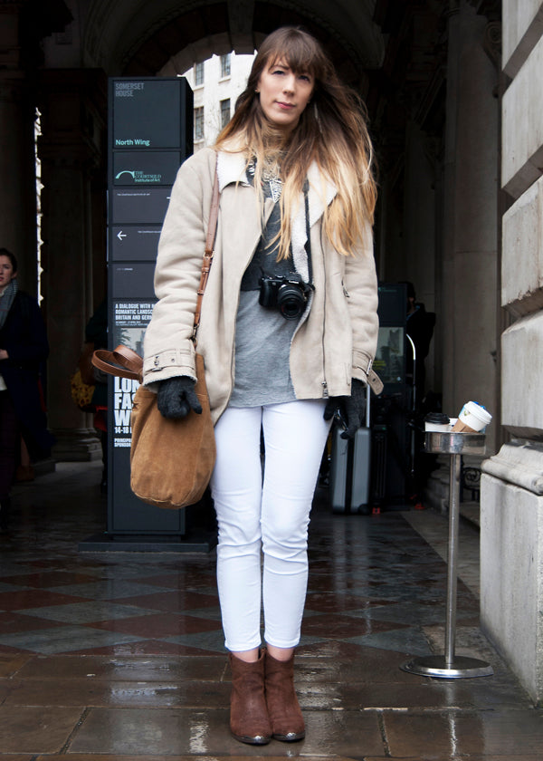 Laura, Fashion Designer, Instagram @laurahemesley, london fashion week, street style, blogger style, blogger fashion, white jeans, skinny jeans, jacket, camera, bag