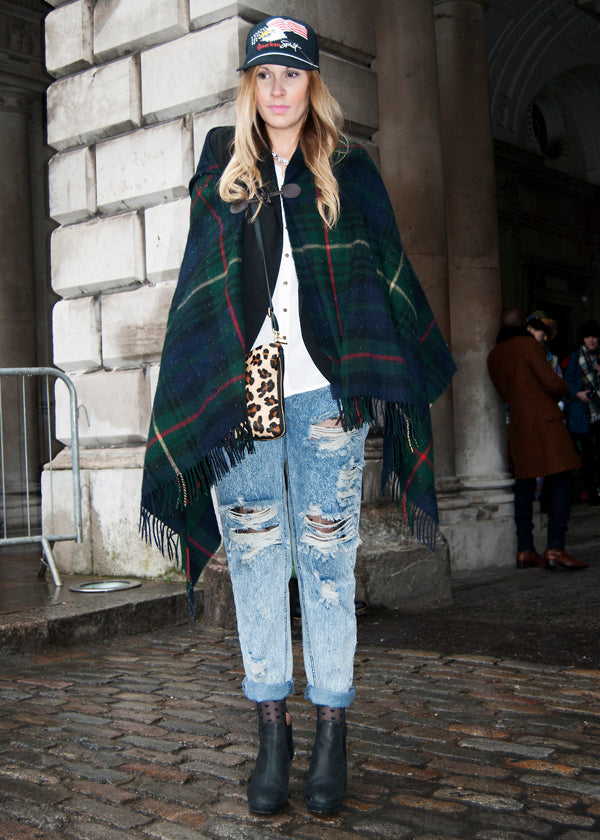 Angela, Buyer, Instagram & Twitter @fitzroyboutique, london fashion week street style, blogger style, blogger fashion, hat, tartan poncho, boyfriend jeans, distressed jeans., ripped denim, leopard bag