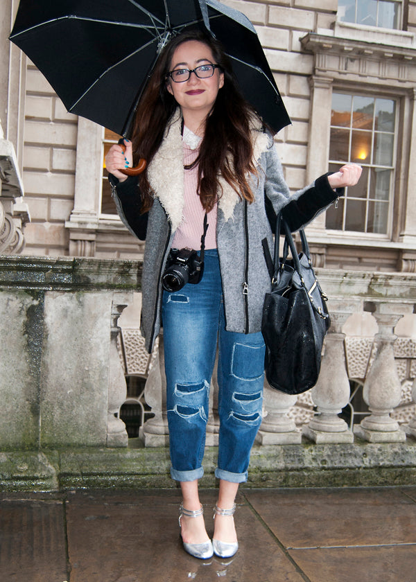 Daniela, Student/Blogger, Instagram & Twitter @danielaaaa, london fashion week, street style, blogger style, blogger fashion, boyfriend jeans, sports luxe, distressed denim, ripped jeans, cuffed jeans, silver heels, glasses, knitwear, blouse, bag, camera