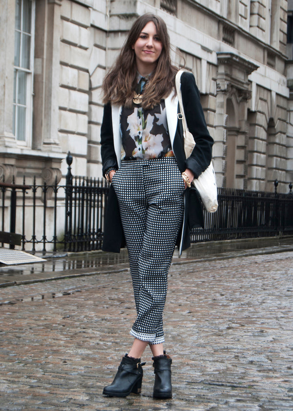 Megan, Student, Instagram @meganralfe Twitter @megananneralfe, london fashion week street style, blogger style, blogger fashion, check pants, mixing prints, floral blouse, black and white, tuxedo jacket, black and white jacket, bag, monochrome fashion