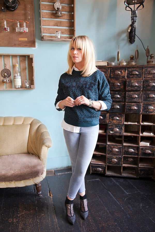 Edith Bowman,  J Brand Jeans in Strobe, skinny jeans, light wash jeans, Rebel Waite Shirt and Leon, Harper Jumper, Donna Ida, fashion, denim, jeans