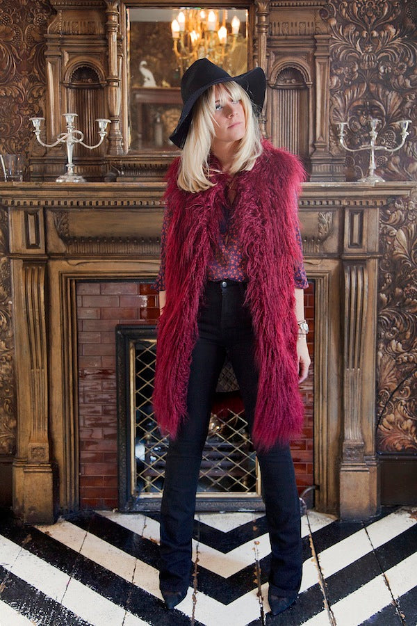 Edith Bowman, BLF Gilet, faux fur, Joie Blouse, IDA Mona Bootcut Jeans, denim, Donna Ida, fashion, London, outfit