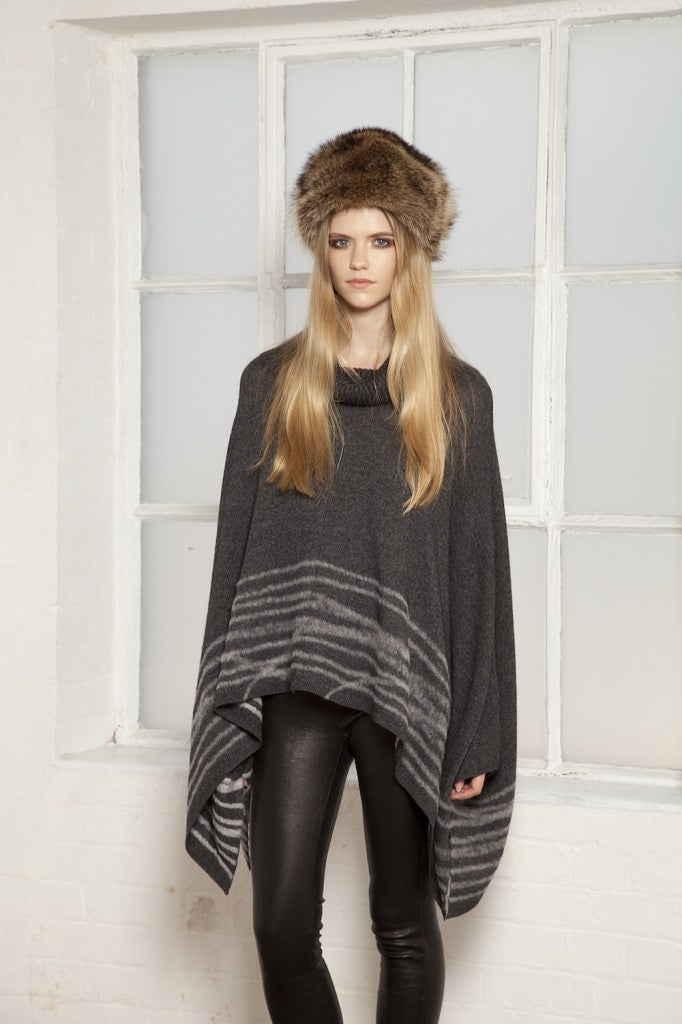 donna ida, london fashion, london style, winter, 360 Dahlia Cashmere Funnel Neck Poncho in Heather Grey , J Brand Clean Leather Legging in Noir, fur gat, poncho