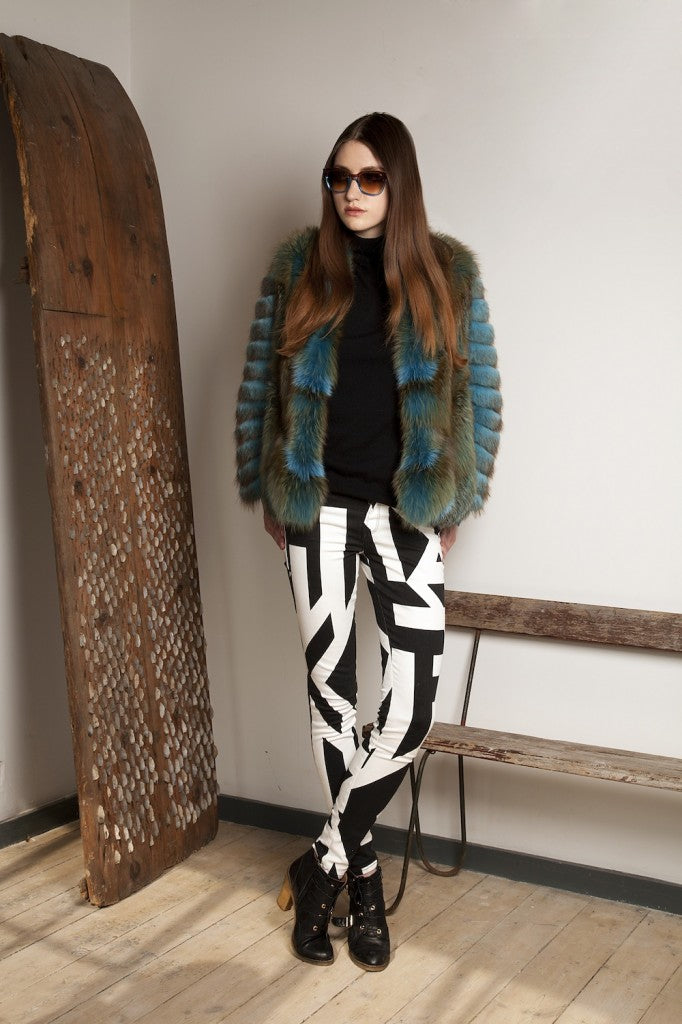 donna ida, london fashion, london style, fur coat, patterened jeans, skinny jeans, sunglasses, Hockley Orchid Coat in Blue, J Brand 620 Skinny Jeans in Cantilever Print