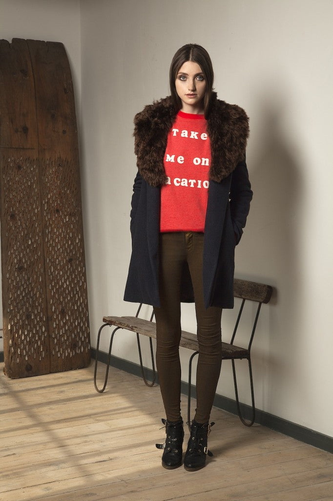 donna ida, london fashion, london style, fur coat, moss jeans, skinny jeans, printed top, brown fur, L'Agence Gentleman's Coat in Charcoal, Wildfox Vacation Jersey, J Brand 801 Skinny in Gold Nebula