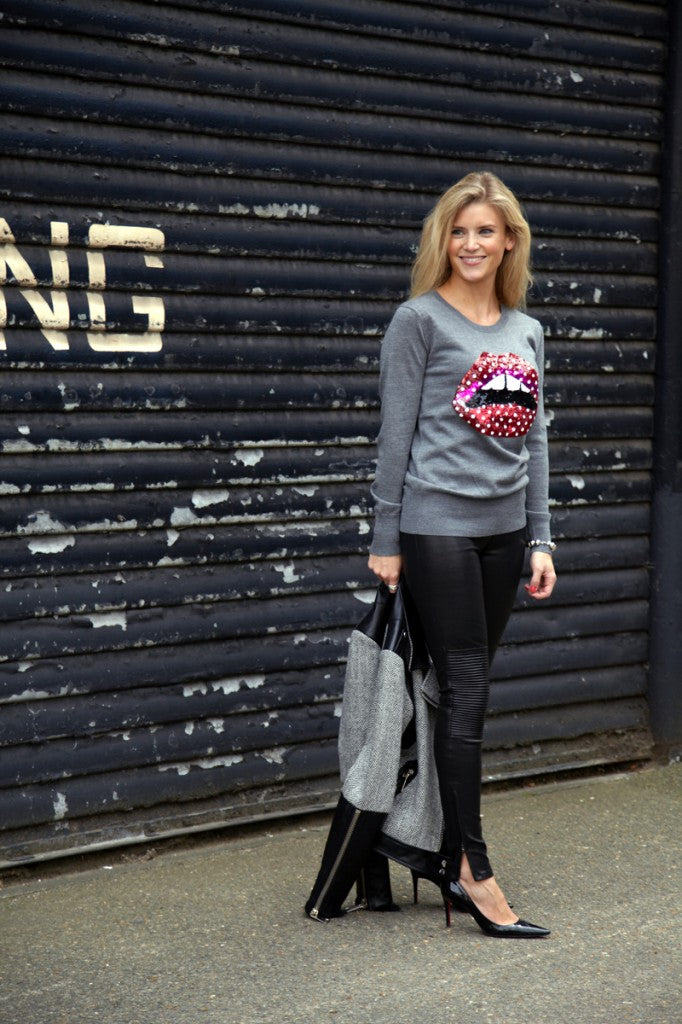 donna ida, london fashion, london style, knitwear, winter, lips, jumper, jersey, sequin