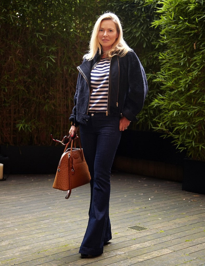 donna ida, london fashion, london style, samantha heyworth, Seafarer Penelope Flare Jeans in Rinse, J Brand RTW Kay Leather Jacket in Navy, Mother of Pearl Stag Top in Stag Print