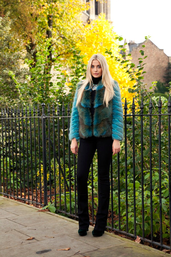 donna ida, london fashion, london style, straight leg jeans, polo neck, blue fur, hockley jacket,