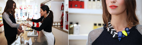 Behind the Scenes: Lisa Orders Fragrance Tapas. Bath Cologne is served from steaming hot tagines, warm Body Lotion and Crèmes are painted onto your skin and Bath & Shower Gel is shaken, not stirred, and served over the rocks.