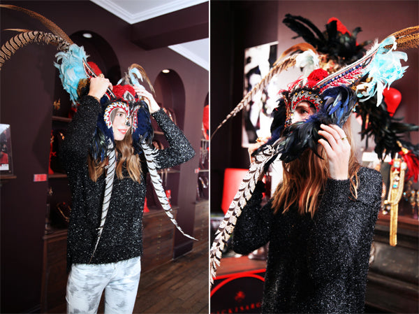 Behind the Scenes: Lisa tries on an amazing head piece by Vicki Sarge wearing IRO Aden Blue Print skinny jeans, Mauro Grifoni Lucemax