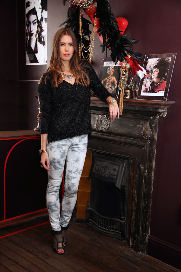 Lisa Haynes, IRO Aden Blue Print skinny jeans, Mauro Grifoni Lucemax, Nicholas Kirkwood shoes and Avenger gold plated necklace with Swaovski crystals by Vicki Sarge, Donna Ida, denim, fashion
