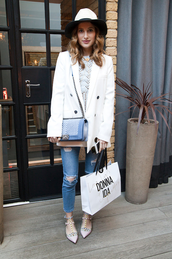 Rosie Fortescue wears Donna Ida Jeans with rips and distressing