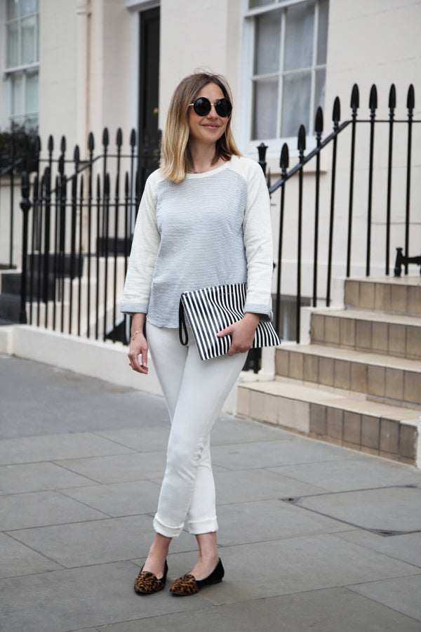Hannah Rochell, IDA Rizzo High Top ankle skinny jeans in Milk, Leon & Harper Stripe Sally Jersey, Donna Ida, fashion
