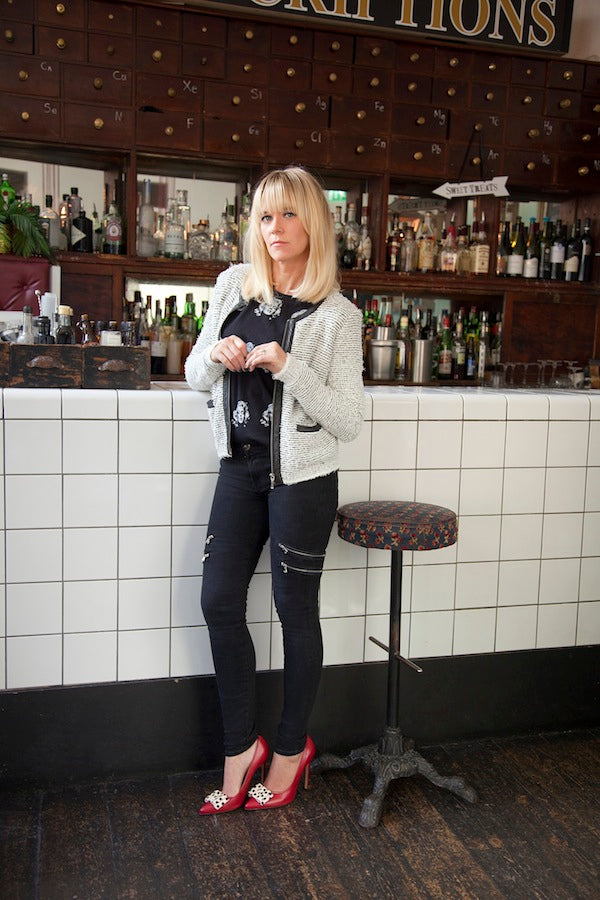 Edith Bowman, J Brand Jeans, black jeans, skinny jeans, zip detail, Joie Jacket, ElevenParis Tee, Donna Ida, fashion, London, outfit