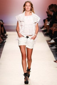 Isabel Marant Perforation SS14, donna ida, london fashion, london style, laser cut, cut outs, shorts, white, top, jackets, model, runway