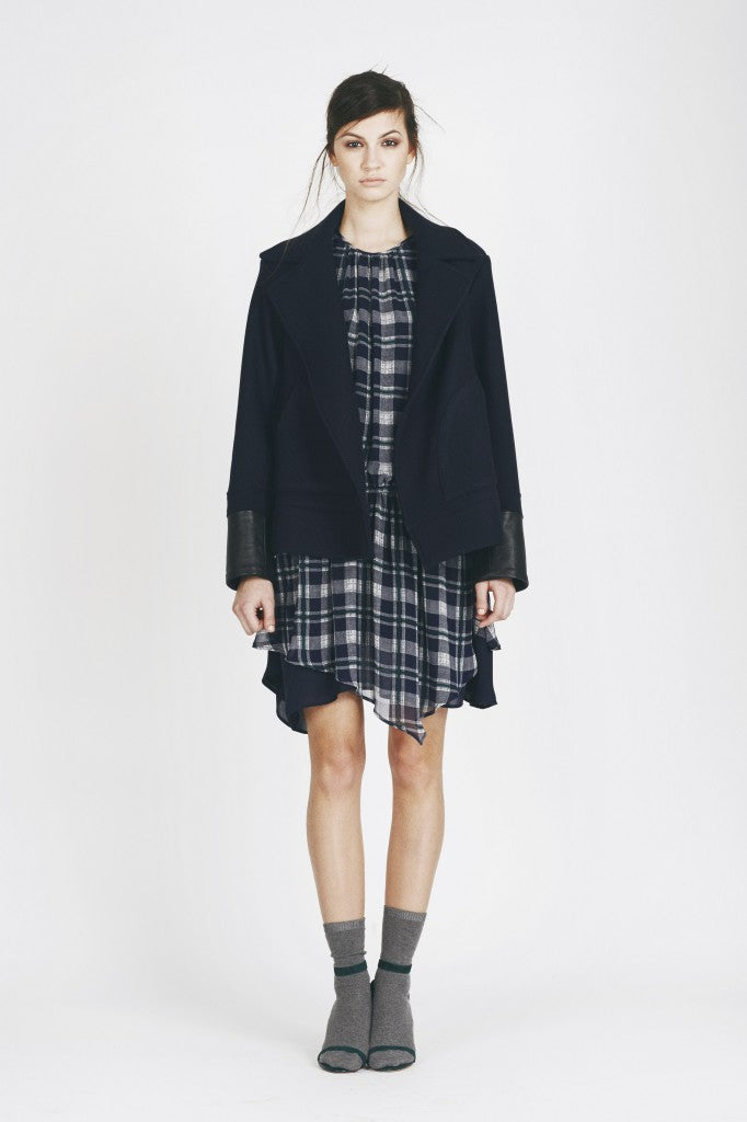 How to style Joie - London style: Tartan dress, socks, shoes, jackets, blogger style