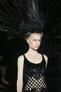 SS14 Trends Perforation Louis Vuitton, donna ida, london fashion, london style, headpiece, feathers, cutouts, see through, vest, details