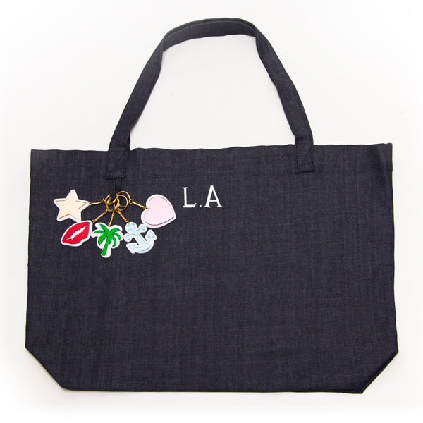 LornaLuxe DONNA IDA Denim Tote Bag  (16)