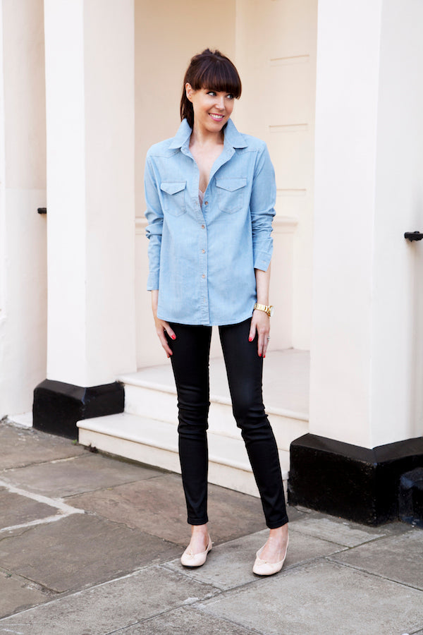 LornaLuxe wears IDA Honor jeans in Grease and Outback denim shirt donnaida.com