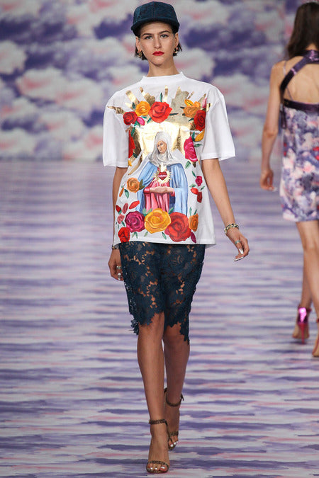 House of Holland Ss14, printed tee, lace skirt, runway, fashion week, london fashion, blogger fashion, street style