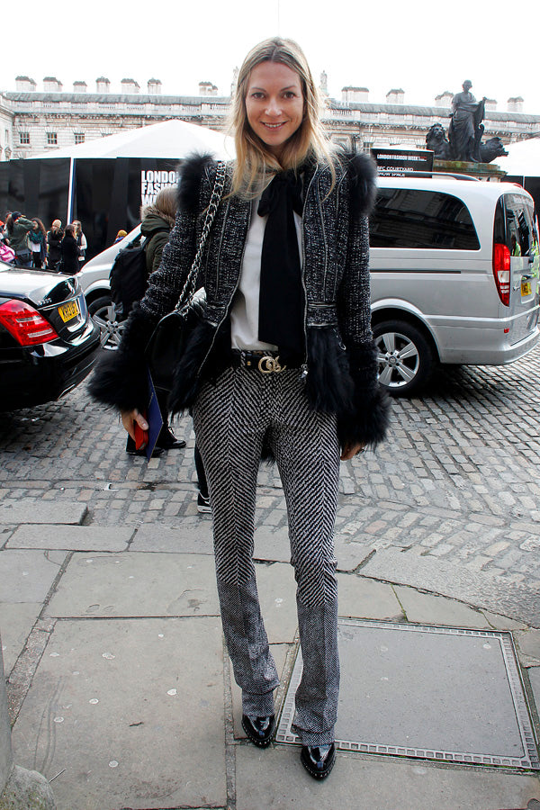 Caroline Sciamma, white pussy bow blouse, IDA, jacket, pants, fur, stylist, london fashion week, street style, blogger style, blogger fashion