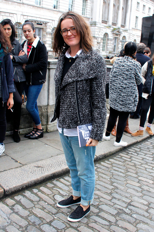 Holly Welch Fashion Editor Marie Claire, boyfriend jeans, baggy jeans, distressed denim, blouse, jumper, jacket, glasses, style, london fashion week, street style, blogger style, blogger fashion