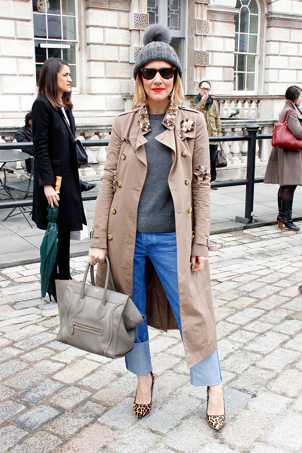 Stylist Laura Fantacci, london fashion week, street style, denim, cuffed jeans, leopard sheos, beanie, jacket, knitwear, sunglasses, boyfriend jeans, oversized denim, blogger style, blogger fashion, london fashion