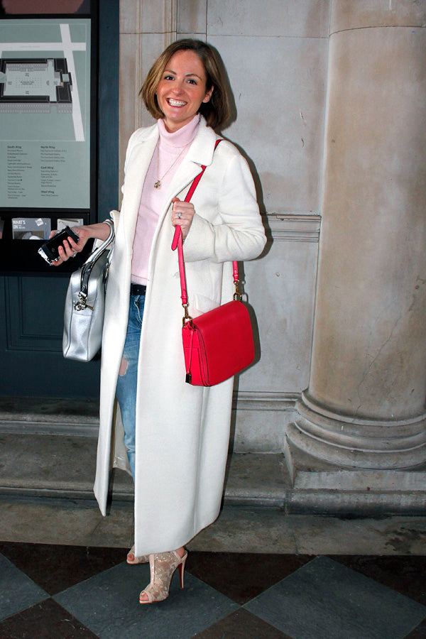 Claire Brayford, Fashion Editor, Daily Express, polarneck, white jacket, pink knitwear, boyfriend jeans, ripped jeans, distressed denim, heels, handbag, blogger style, blogger fashion, london fashion week