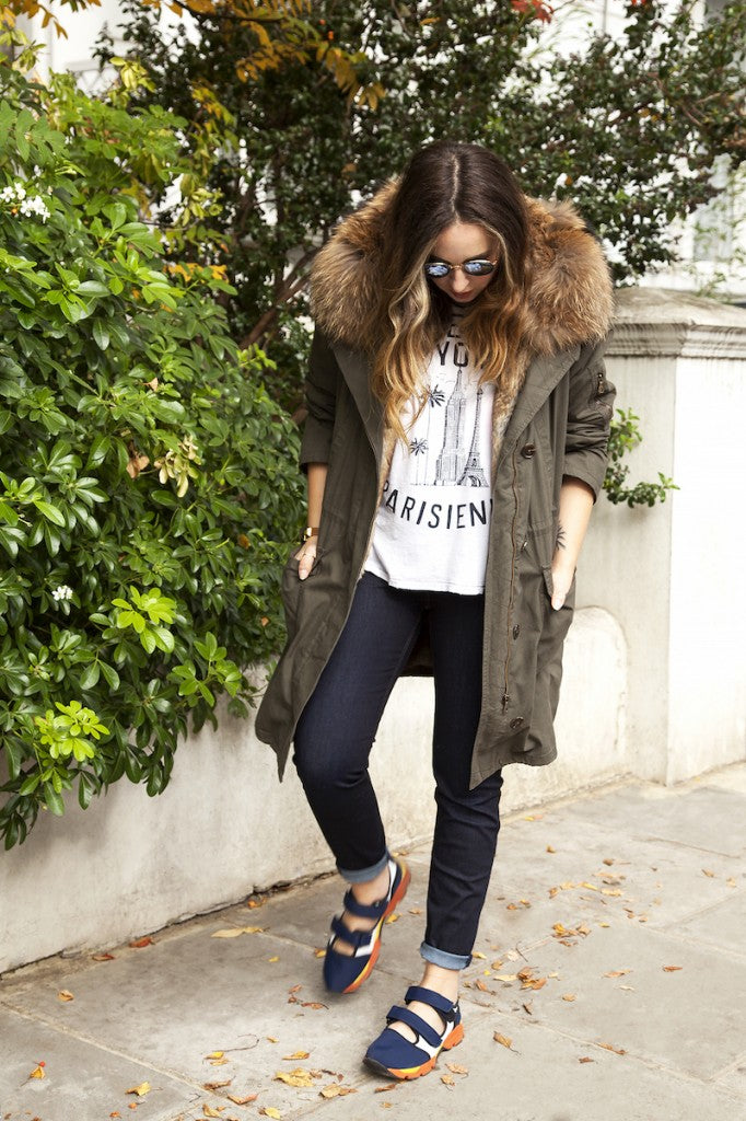 Mademoiselle Robot wears IDA Rizzo in Night Fever Army Fur Parka and Sundry Tee