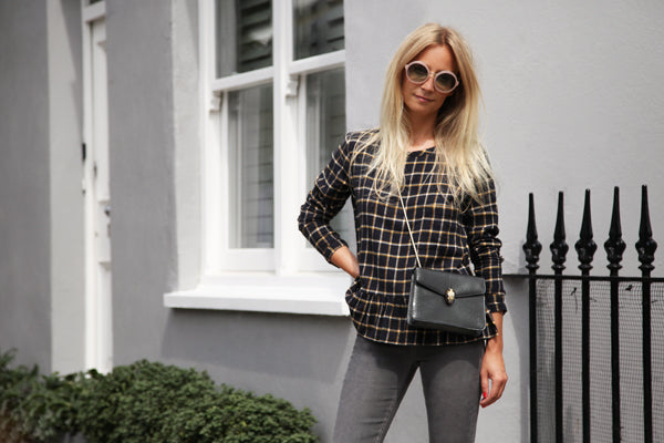 Martha Ward, Leon & Harper Tally Top, checkered, peplum, IDA Rizzo in Foggy London, denim, skinny jeans, grey jeans, Donna Ida, fashion