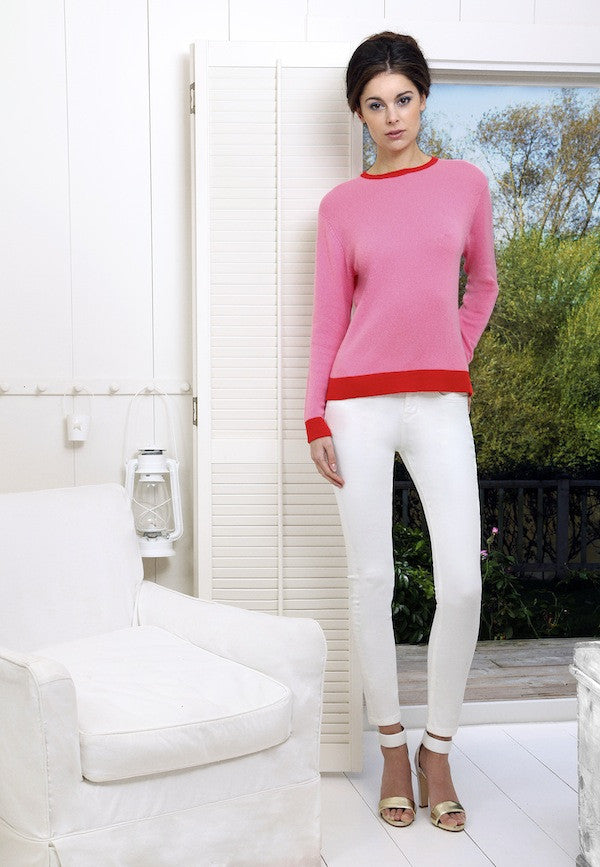 IDA Rizzo Ankle Skinny Milk and Collar and Cuffs Jumper in Hot Lips and Racey Red