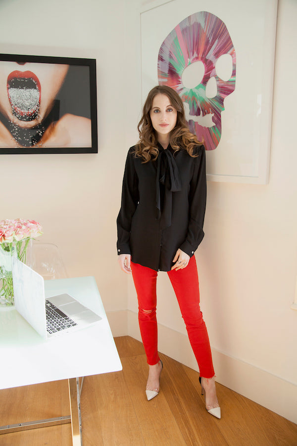 Rosie Fortescue from Made in Chelsea wears Mother Denim jeans and DONNA IDA blouse IMG_7062ss