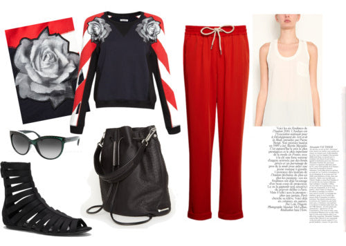 How to get the Sports Luxe Nautical Look - London Street Style: Emma cook jumper, emma cook joggers, shoes, sunglasses, bag, vest