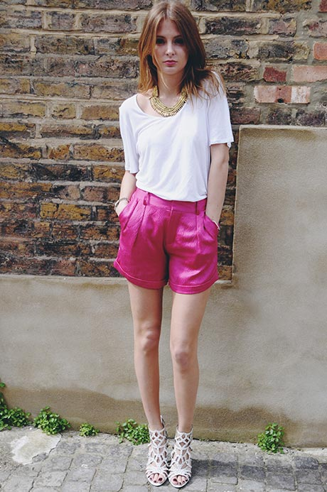 made in chelsea, millie mackintosh, pink shorts, white tee, ida tee, donna ida, london fashion, london blog, london style