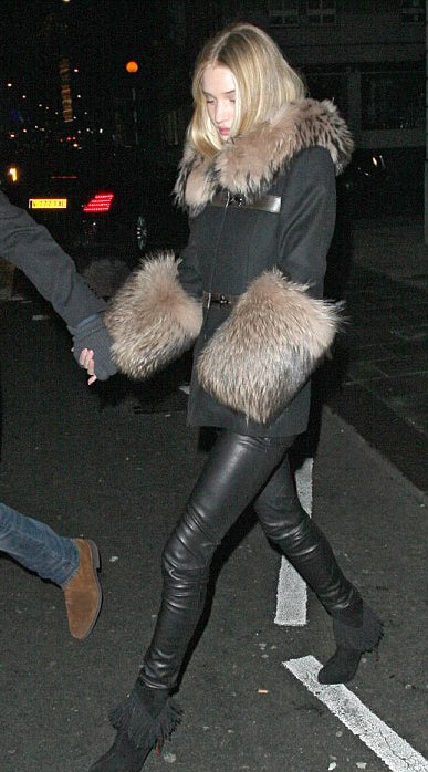 donna ida, j brand, leather leggings, fur coat, rosie huntington whitely, london fashion, london style, street style, street fashion, blogger style, blogger fashion,