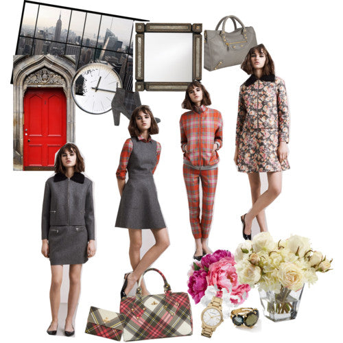 aw markus lupfer 2014 collection inspiration, heritage style, tartan, dress, skirt, pants, jacket, clock, door, skyline, flower, fashion, london, street style. Blogger Style.
