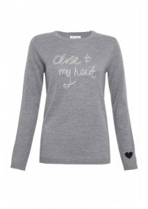 Bella Freud 'Close to my heart' knit in grey, Donna Ida, fashion