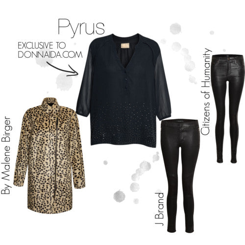 donna ida, london fashion, london style, pyrus clemence blouse, petrol, long sleeve, button, citizens of humanity, jeans, j brand, leopard coat