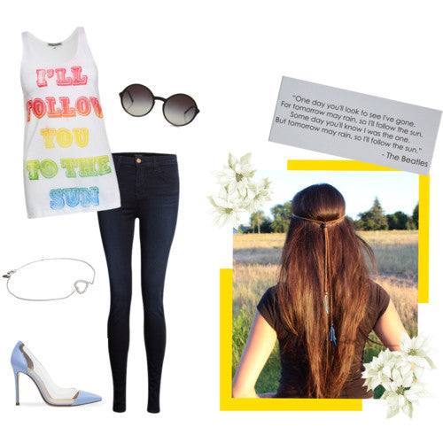 Summer Fashion - Simeon Farrar Rainbow Singlet, J Brand skinny jeans, sunglasses, heart bracelet, heels, summer hair, hair braid