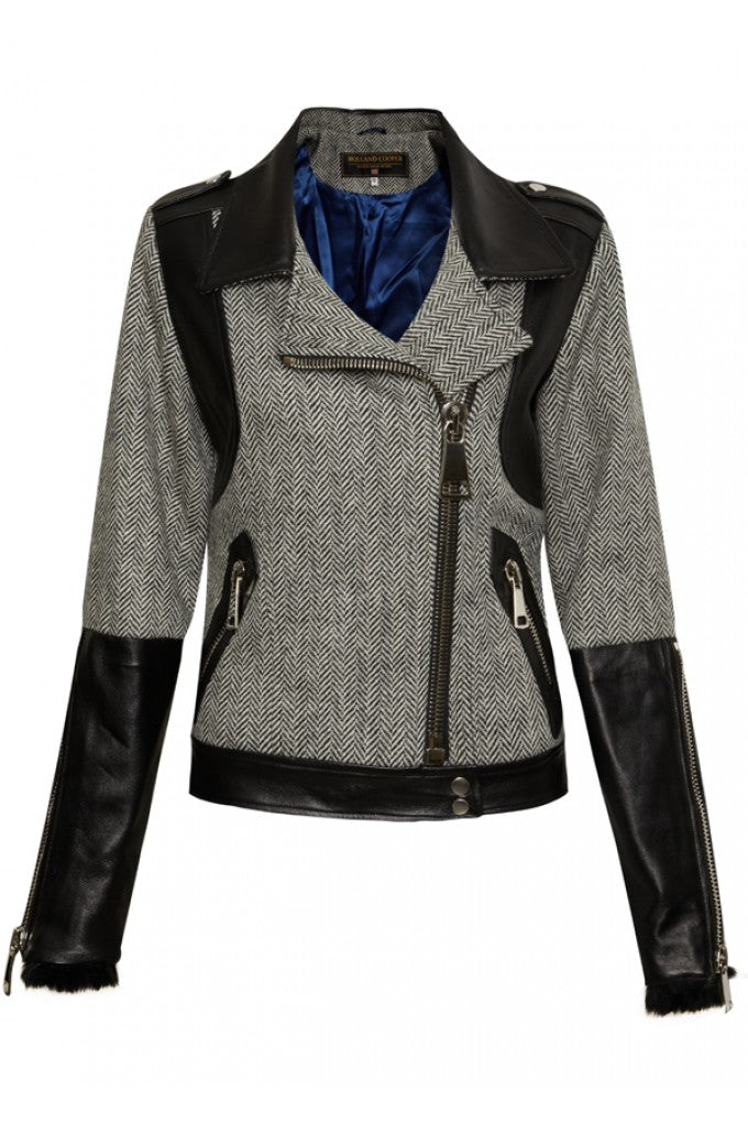 donna ida, london fashion, london style, jacket, panel print, collar, black leather