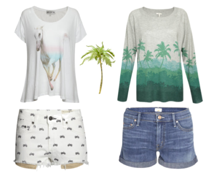 donna ida, london fashion, london style, printed tee, printed jumper, jersey, denim shorts, printed shorts, palm tree, horse