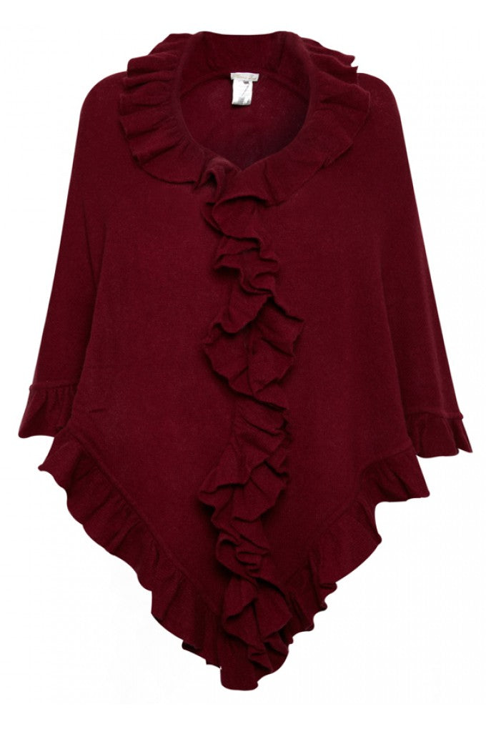 Minnie Rose Ruffle Shawl in Bordeaux, donna ida, london fashion, london style, knitwear, winter