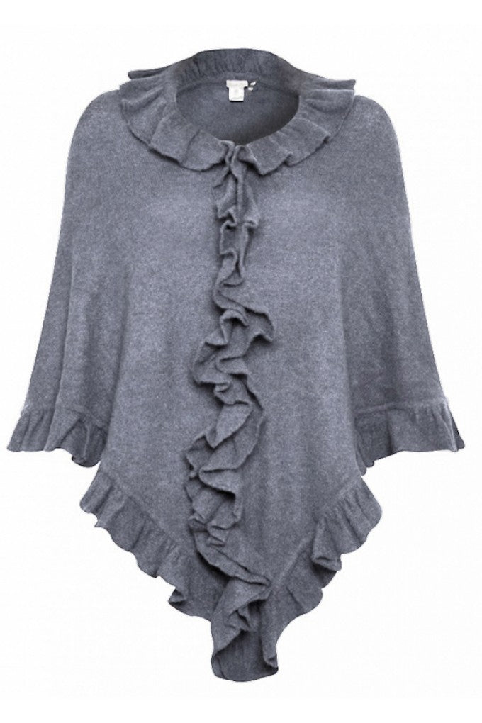 Minnie Rose Ruffle Shawl in Grey, donna ida, london fashion, london style, knitwear, winter