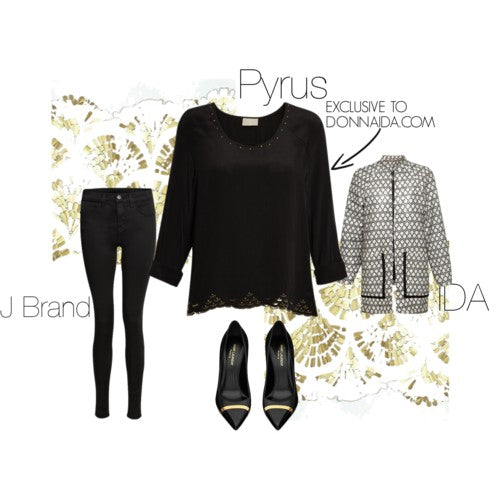 donna ida, london fashion, london style, pyrus starla blouse, black top, detail, j brand, skinny jeans, pointed toe shoes, jacket