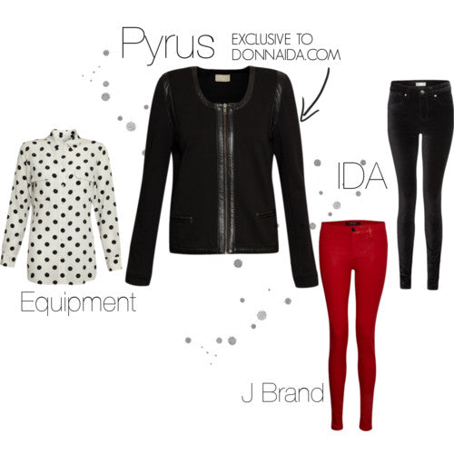 donna ida, london fashion, london style, pyrus vendome jacket, black jacket, detail, zips, leather, ida jeans, j brand, skinny jeans, red jeans, polka dot, blouse
