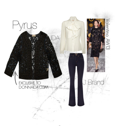 donna ida, london fashion, london style, pyrus liza jacket, black jacket, detail, flare jeans, blouse, runway
