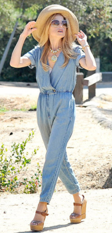 donna ida, london fashion, london style, street style, street fashion, blogger style, blogger fashion, rachel zoe, denim jumpsuit, sunglasses, straw hat, wedges